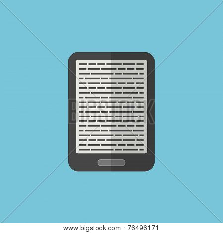 E-book Reader Icon In Flat Style