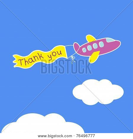 Cartoon Violet Plane.  Ribbon With Words Thank You. Card.