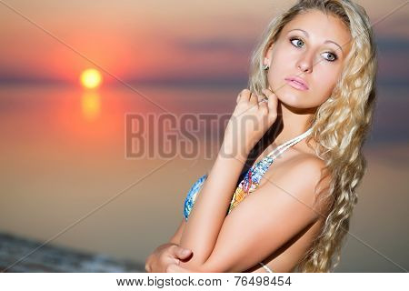 Portrait Of Thoughtful Blond Woman