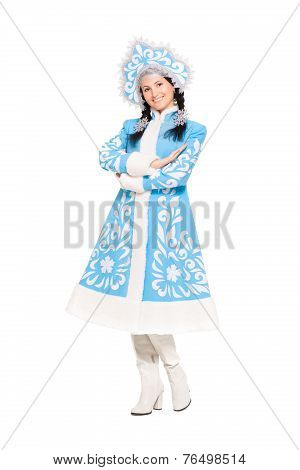 Playful Brunette Posing In Snow Maiden Costume