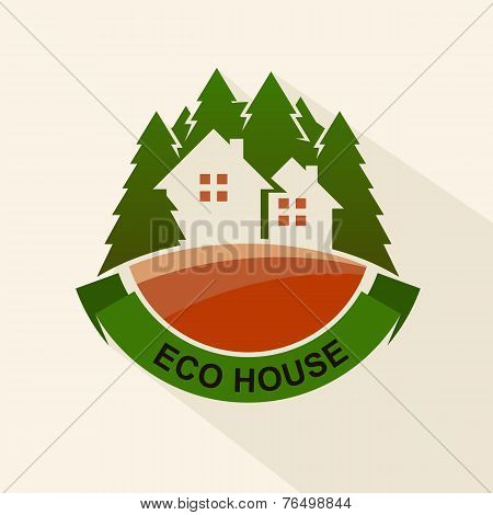 Flat Style Eco House Badge With Trees. Vector Logo Template. Design Concept For Real Estate Agencies