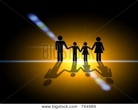 In the light. Family silhouette in the center of the light