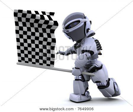 Robot agitando Chequered Flag