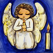 picture of cherubim  - Illustration of an angel praying by candlelight - JPG