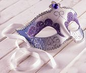 image of venetian carnival  - Venetian artisanal mask for Carnival over white wooden table - JPG