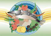image of plate fish food  - Delicious fish and vegetable products for seasoning - JPG