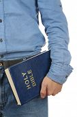 pic of bible verses  - Man holding Bible close up - JPG