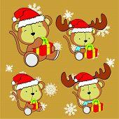 image of baby-monkey  - sweet xmas monkey baby cartoon set in vector format very easy to edit - JPG