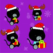 pic of panther  - sweet xmas panther baby cartoon set in vector format very easy to edit - JPG