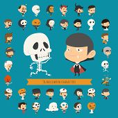 picture of halloween characters  - Set of 40 halloween costume characters eps10 vector format - JPG