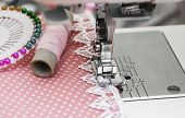 stock photo of sewing  - Close up of sewing machine  - JPG
