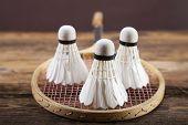 stock photo of shuttlecock  - A set of badminton - JPG