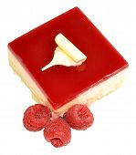 picture of tort  - Raspberry torte cheesecake with fresh raspberries isolated on a white background - JPG