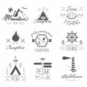 picture of mystical  - Set of icons on a hike in the mystical retro style design for t - JPG