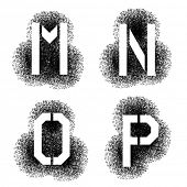 image of letter p  - vector stencil angular spray font letters M N O P - JPG