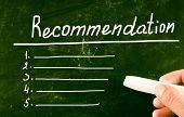 image of recommendation  - Recommendation concept handwritten with chalk on a blackboard