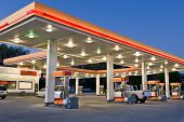 picture of generic  - Late evening time exposure of modern gas station and convenience store - JPG
