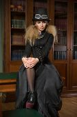 picture of gothic girl  - Vintage sexy girl next to the bookcase - JPG