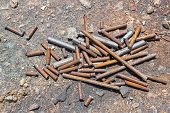 picture of scrap-iron  - Close up rusty rebar scrap in construction site - JPG