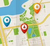 image of gps  - Vector city map with GPS Icons illustration flat - JPG