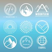 picture of outline  - Vector mountain logos and emblems in outline style  - JPG