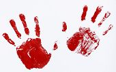 stock photo of dna fingerprinting  - fingerprints and hands soaked in blood hindering stop - JPG