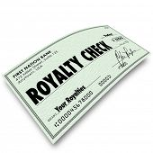 foto of revenue  - Royalty Check words on paper money issued for interest - JPG