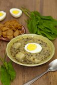 stock photo of sorrel  - Sorrel soup with egg and greens - JPG