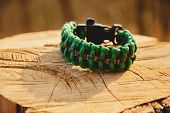 pic of paracord  - Bracelet paracord on a tree trunk in autumn forest no people - JPG