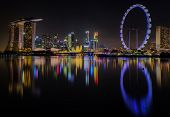 stock photo of singapore night  - Landscape of Singapore city along night time - JPG