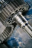 picture of titanium  - industrial cogwheels powered by timing chain - JPG