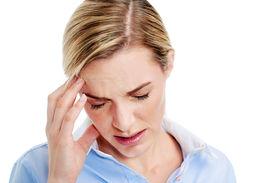 pic of fatigue  - Young businesswoman has splitting headache pain migraine - JPG