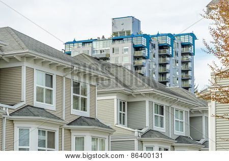 Modern apartment, townhouse buildings in Surrey, British Columbia, Canada.