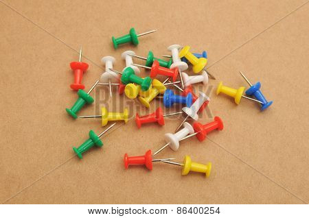 Group of multi-color push pins