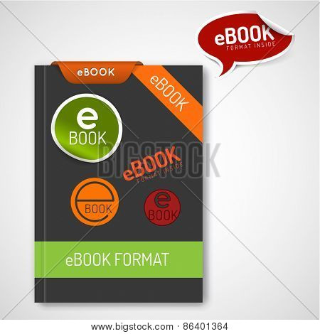 Vector ebook markers - stickers, stamps, corners, labels, ribbons - dark version