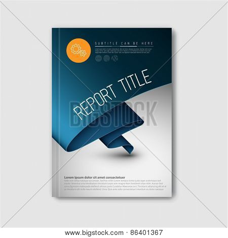 Modern Vector abstract brochure / book / flyer design template with dark blue paper