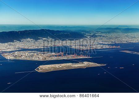 Aerial view of Kobe Airport in Kobe Japan