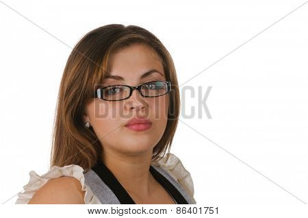 closeup of a beautiful young hispanic woman wearing glasses over a white background