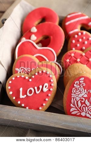 Heart shaped cookies for valentines day, close-up