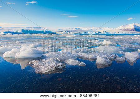 Frozen lake locate in Jokulsarlon glacier