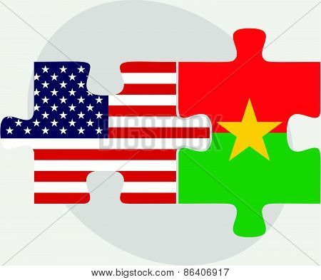 Usa And Burkina Faso Flags In Puzzle