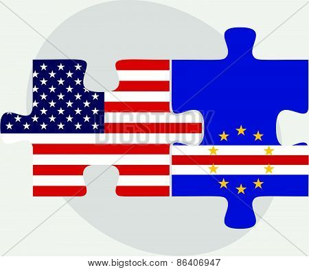Usa And Cabo Verde Flags In Puzzle