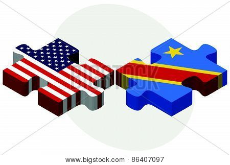 Usa And Democratic Republic Of The Congo Flags In Puzzle
