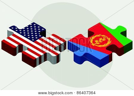 Usa And State Of Eritrea Flags In Puzzle