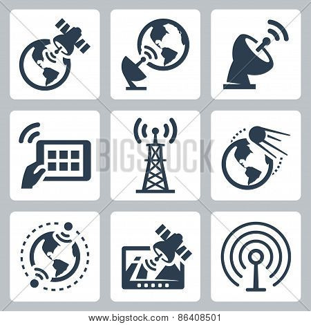 Satellite And Navigation Related Vector Icons Set