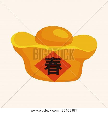 Chinese New Year Theme Elements, Gold Ingot Means