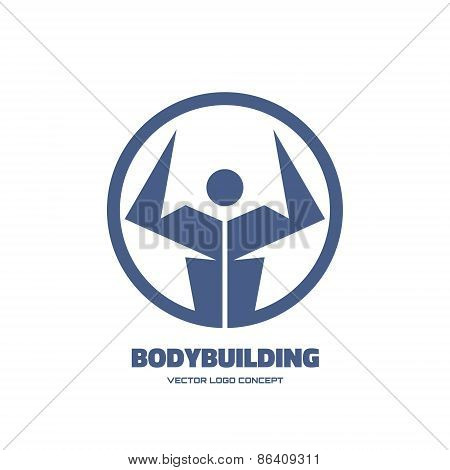 Body-building - vector creative logo sign for different design works. Vector logo template.
