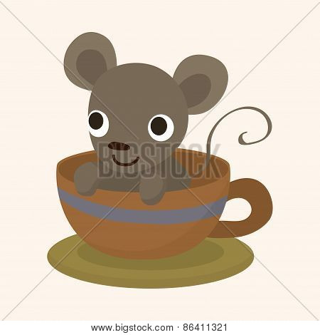 Animal Mouse Having Afternoon Tea Theme Elements