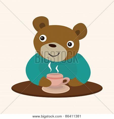 Animal Bear Having Afternoon Tea Theme Elements