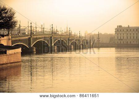 Trinity Bridge At Saint-petersburg, Russia. Sepia Toned